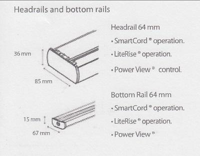 Luxaflex 64mm Duette Headrail sizes