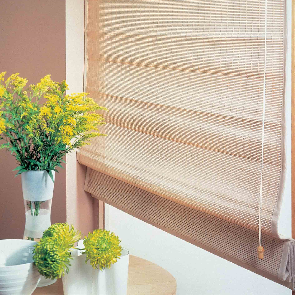 Luxaflex Wood Weave with Flowers